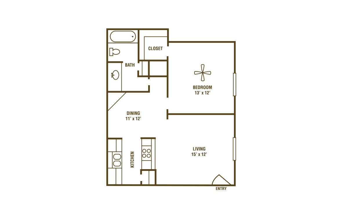 1-1A - 1 bedroom floorplan layout with 1 bath and 670 square feet (1st floor 2D)