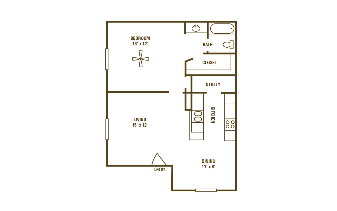 1-1B - 1 bedroom floorplan layout with 1 bath and 672 square feet (1st floor 2D)