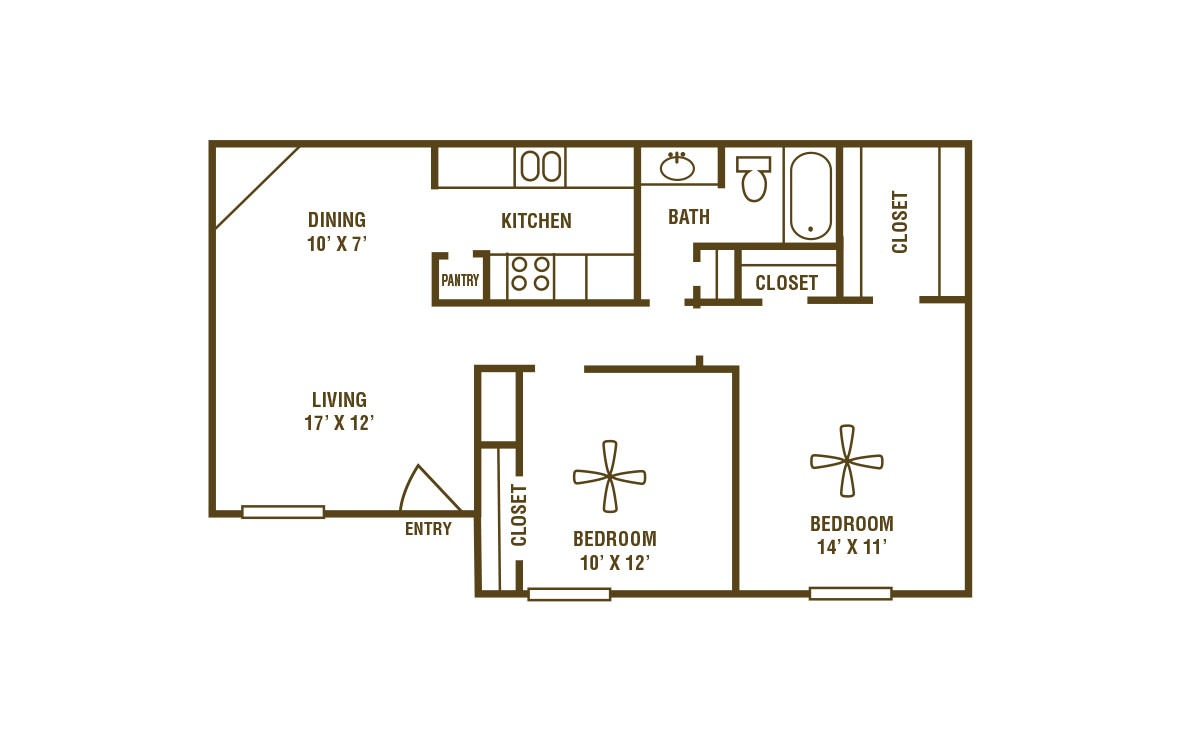 2-1A - 2 bedroom floorplan layout with 1 bath and 820 square feet (1st floor 2D)