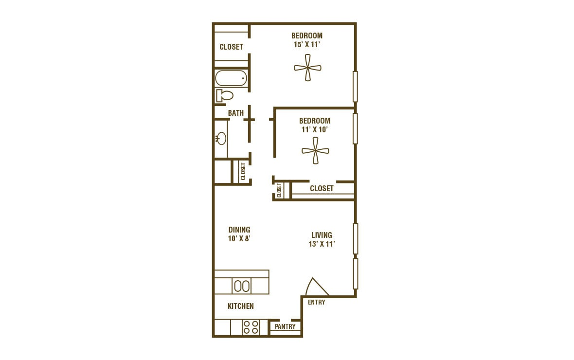 2-1B - 2 bedroom floorplan layout with 1 bath and 825 square feet (1st floor 2D)