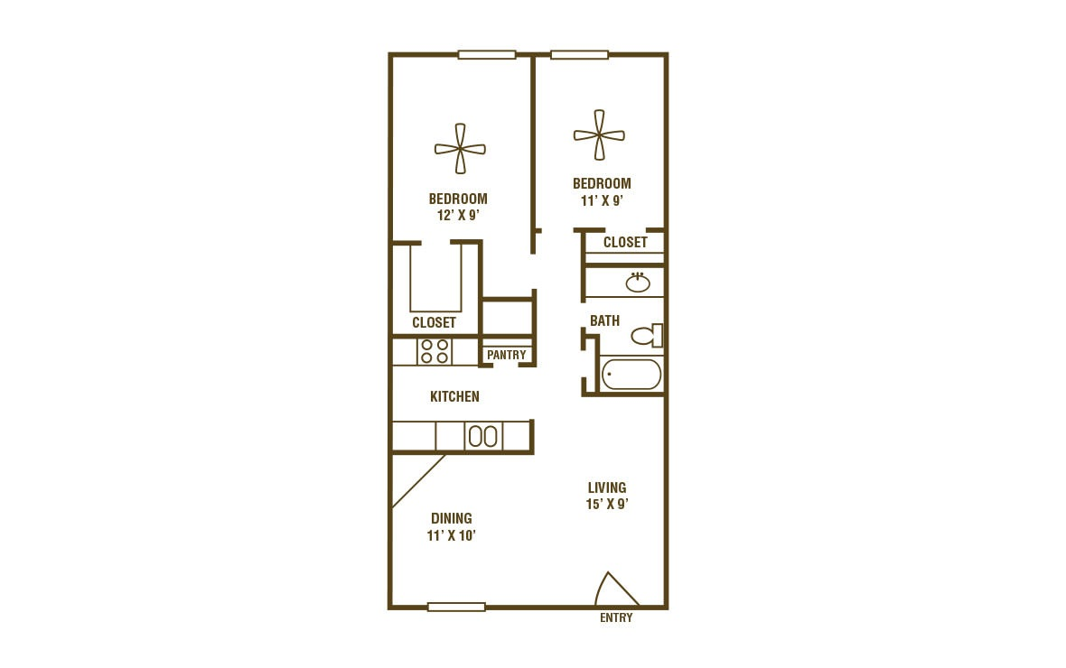 2-1C - 2 bedroom floorplan layout with 1 bath and 840 square feet (1st floor 2D)