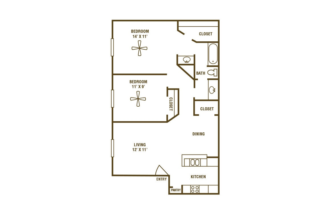 2-1D - 2 bedroom floorplan layout with 1 bath and 862 square feet (1st floor 2D)
