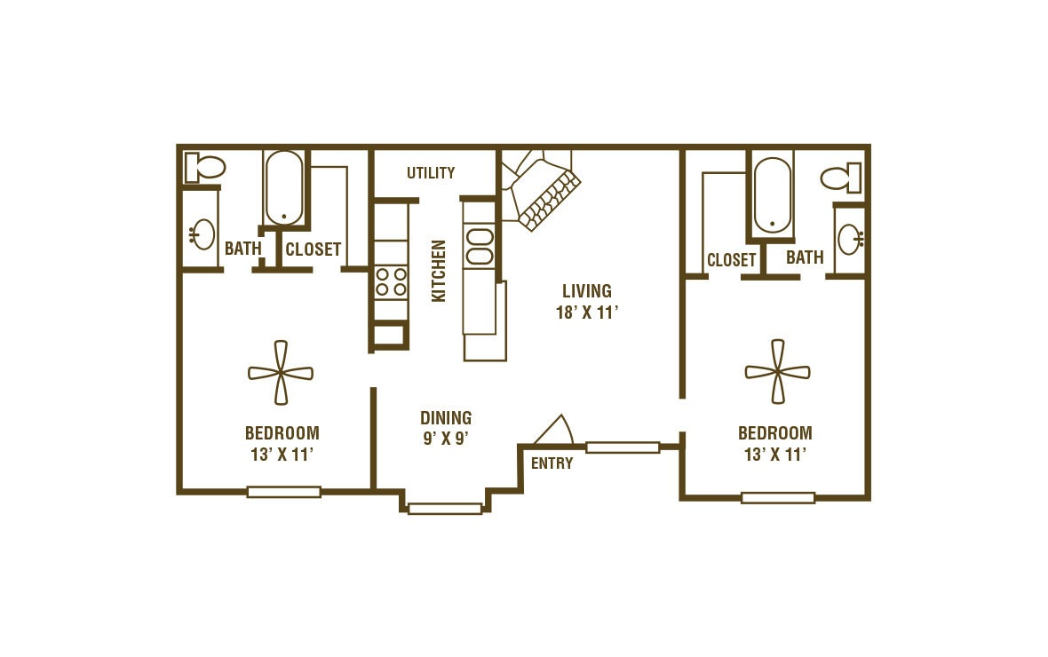2-2A - 2 bedroom floorplan layout with 2 bath and 944 square feet (1st floor 2D)