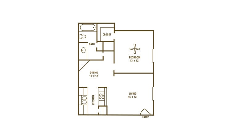 1-1A - 1 bedroom floorplan layout with 1 bath and 670 square feet