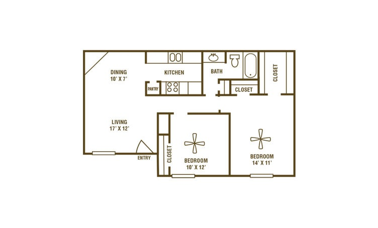 2-1A - 2 bedroom floorplan layout with 1 bath and 820 square feet