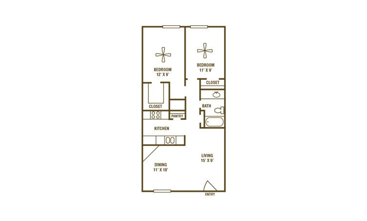 2-1C - 2 bedroom floorplan layout with 1 bath and 840 square feet